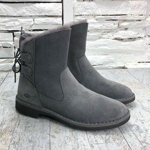 UGG Naiyah Winter Boot Back Lace Sleek Leather